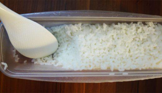 レンジ用パスタ茹で容器でご飯を炊くのって便利かも。