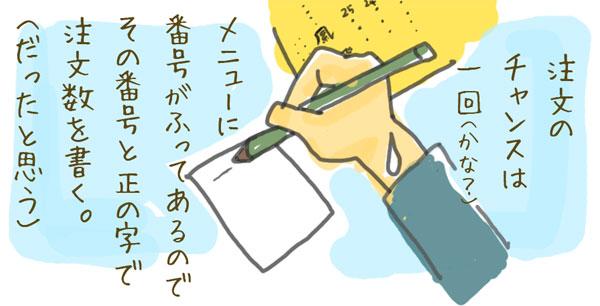 鳳飛さんの注文の仕方は紙に自分でメニューの番号と正の字をかく。
